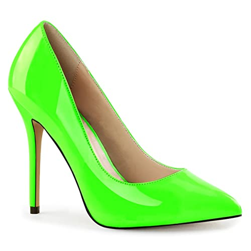 Summitfashions Womens Neon Green Shoes Pointed Toe Pumps Bright Patent Stilettos 5 Inch Heels Size