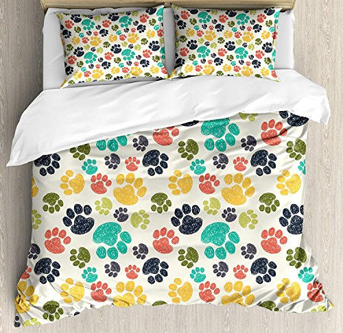 Big buy store Dog Lover Duvet Cover Set, Cute Hand Drawn Paw Print Doodles Circular Pattern Children Drawing Style Animal, Decorative 4 Piece Bedding Set with 2 Pillow Covers, Multicolor(Queen)