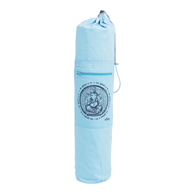 Bedruckte GANESHA Yogamatten-Tasche, hell-blau mit Design-Print in dunkel-blau, für Matten mit 61 cm Breite, Seesack Yoga-Tasche Bodynova GmbH
