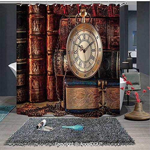 (AngelDOU Antique Polyester Waterproof Shower Curtain Nostalgic Classic Pocket Watch on The Background of Old Books Dated Archive Phot for Bathroom Decoration with Free Hooks)