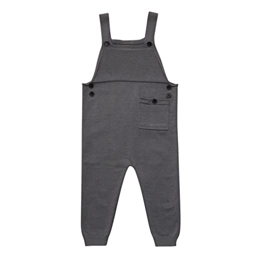 98df510290d6 Digood Toddler Newborn Baby Boys Girls Knitted Overalls Strap Sleeveless  Pocket Rompers Jumpsuit Outfits (Gray