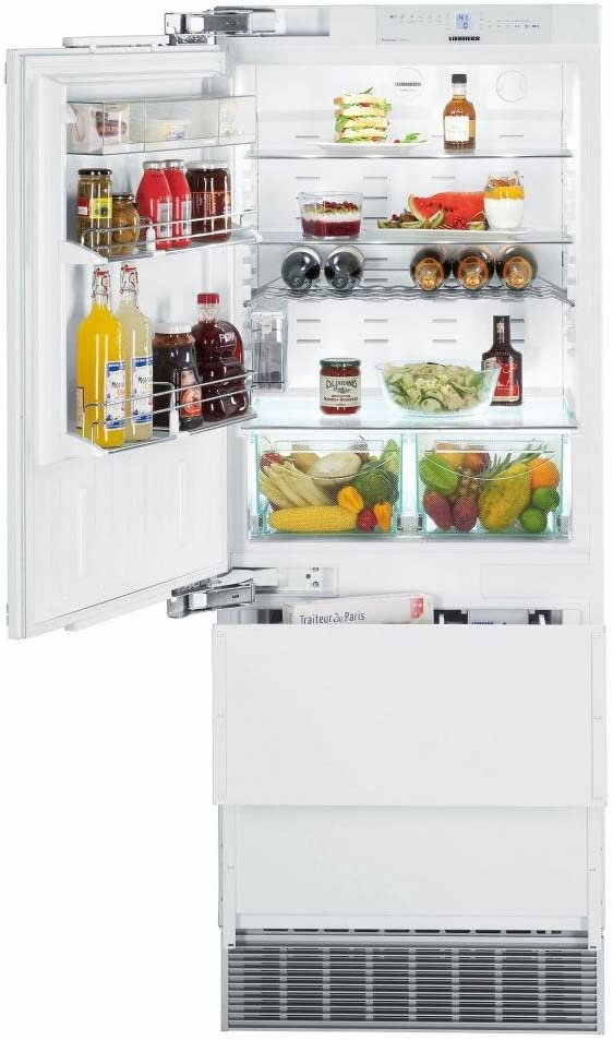 """HC1541 30"""""""" Energy Star Rated Fully Integrated Left Hinge Bottom Freezer Refrigerator with 14.1 cu. ft. Total Capacity DuoCooling Non Plumbed Ice Maker and 2 Glass Refrigerator Shelves in Panel Ready"""