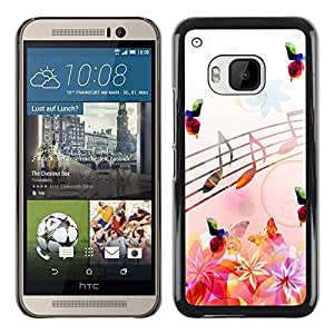 Impact Case Cover with Art Pattern Designs FOR HTC One M9 Music Notes Pink Flowers Butterflies Nature Betty shop