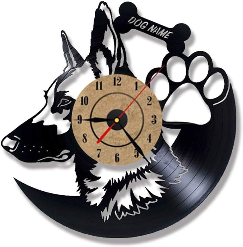 Pastor Alemán Disco de Vinilo Reloj 3D Pared Personalidad Decoración del Hogar Antiguo Reloj de Pared Creativo Retro Familia Decoracion,B