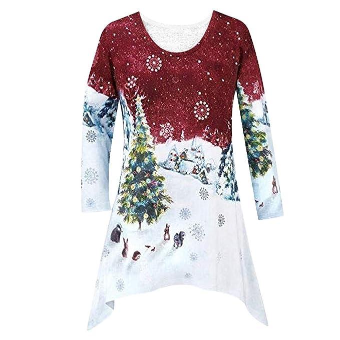... Camisa de Manga Larga del Impresión de Navidad Pulóver Dama Suéter Sexy Oscilación Tops Camiseta Sudaderas Mujer Blousas: Amazon.es: Ropa y accesorios