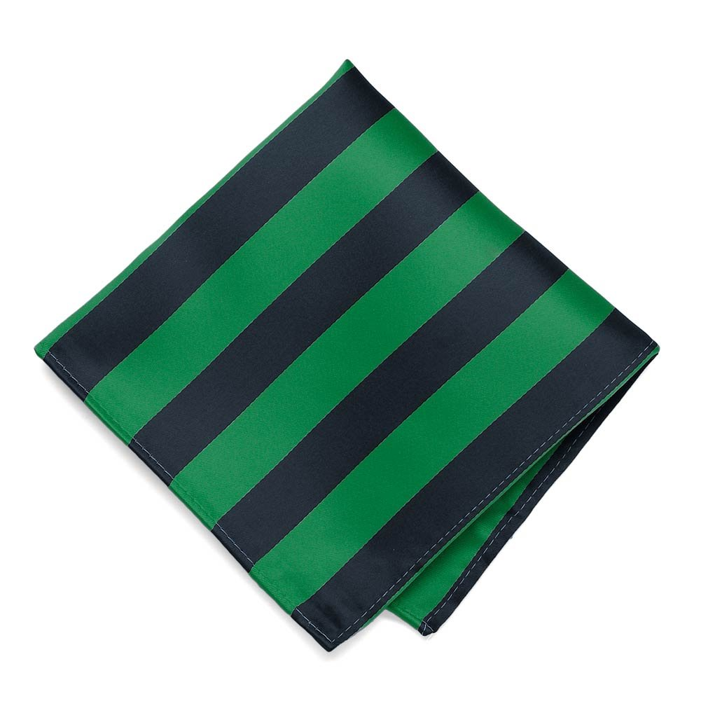 TieMart Kelly Green and Navy Blue Striped Pocket Square IS12PP-1326