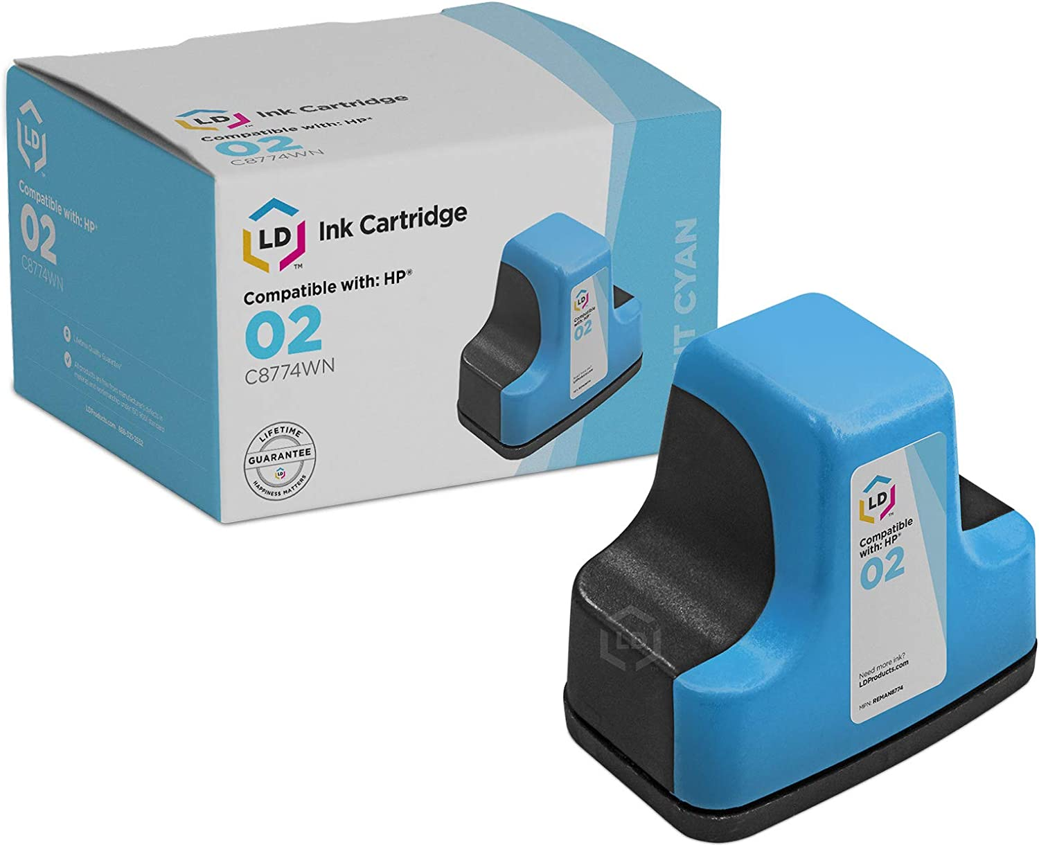 LD © Remanufactured Replacement Ink Cartridge for Hewlett Packard C8774WN (HP 02) Light Cyan