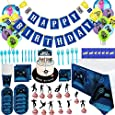 Birthday Cake Topper Foil & Latex Balloons 86Pcs Set Video Game Fortnite Theme Decorations Supply Kit for adults, Teens, Boys, Girls and Kids