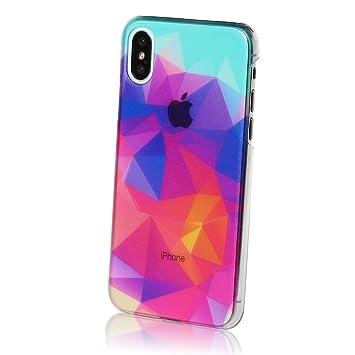 59d2dd1ef5 MRlab iPhoneXSケース iPhoneXケース ハードケース おしゃれ ポリゴン Twilight 綺麗 赤 青 862