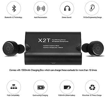 Auriculares inalambricos Mini X2T Inalámbrico Auricular con Doble Bluetooth Bluetooth headphones black. Color Negro.