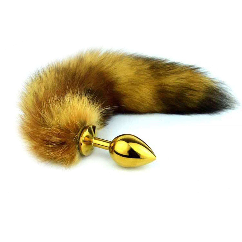 UONRG Shirt Brown Fairy Érocti Toy Cat Tail BūttPlug Pröstátê Mássage Adūlt Sexaml Toy for Man Woman Ànāl Plug Fox Tail Būtt Plug Tail,Medium Size Gold