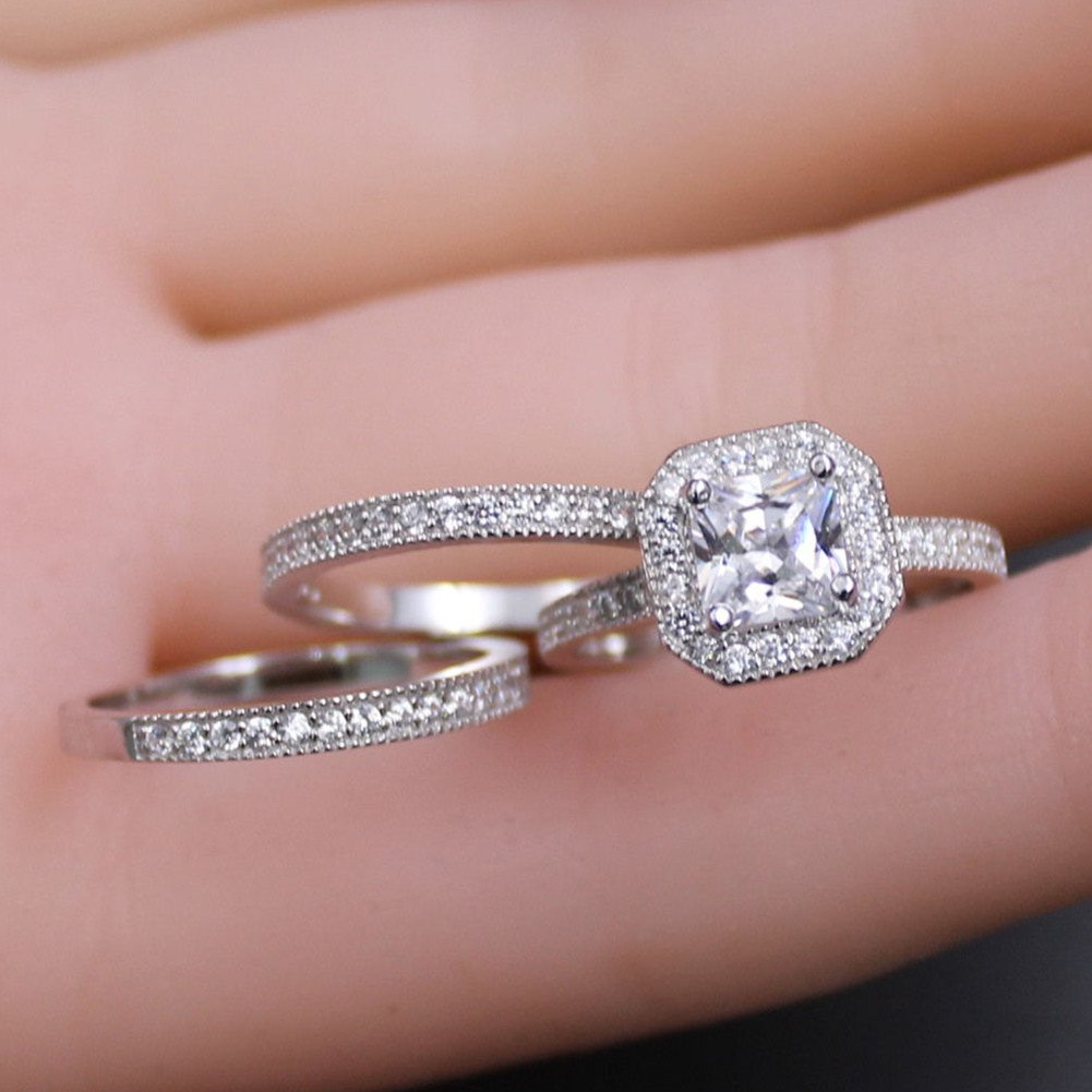 Amazon.com: MABELLA 3 Pcs Ring Band Set 3.28Ct Princess Sterling ...