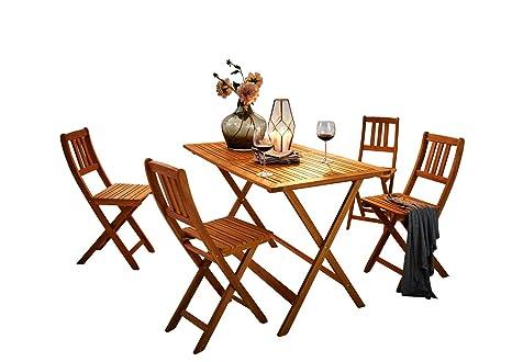 SAM Lot de 5 Costas Salon de Jardin composé de 1 Table + 4 chaises Pliantes  en Bois d\'acacia Massif et huilé certifié FSC 100%