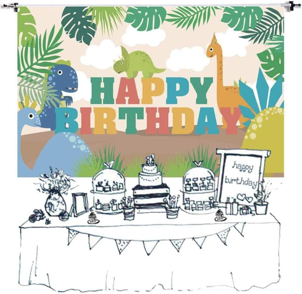 New Birthday Party Backdrop Jungle Safari Vinyl Photography Background Wild Animals Cake Table Banner Children Photoshoot Props 5x3ft