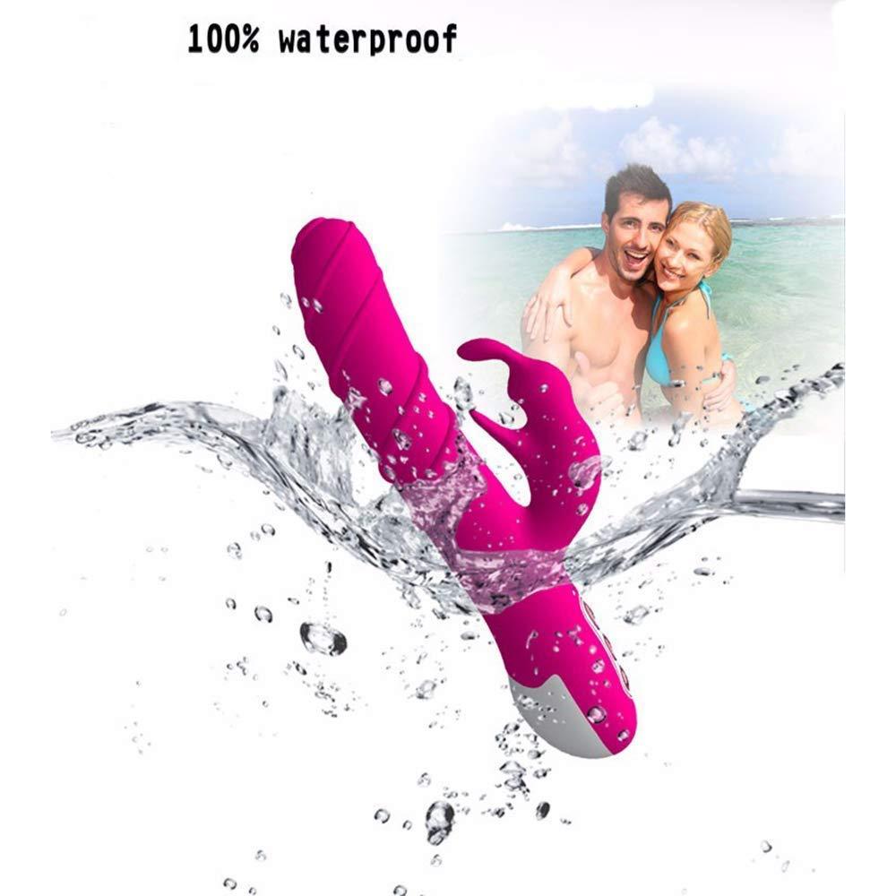 Clítoris G Punto G Clítoris vibrador con función telescópica inteligente vibrador conSolador con 7 vibración y 3 rotación impermeable USB carga conejo vibrador juguete sexual para mujer, rosa 2e7115