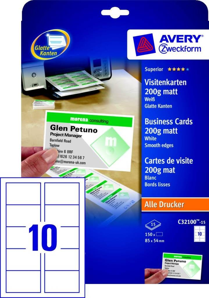 Avery Zweckform 150x Premium Visitenkarten 200g M Matt 15x