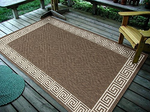 - Furnish my Place Contemporary Geometric Rug, Indoor and Outdoor Area Rug, Easy to Clean, UV protected and Fade Resistant 1113, Brown