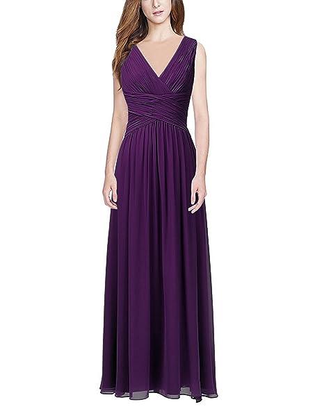 3787e0581e7 Ssyiz Women s Elegant Pleated Chiffon Maxi Evening Party Dress (12 ...
