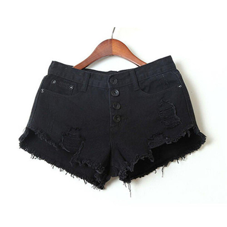 5f3320316b Casaul Jeans Sexy Mini Shorts Black Ladies Tassel Hole High Waist Denim  Shorts at Amazon Women's Clothing store: