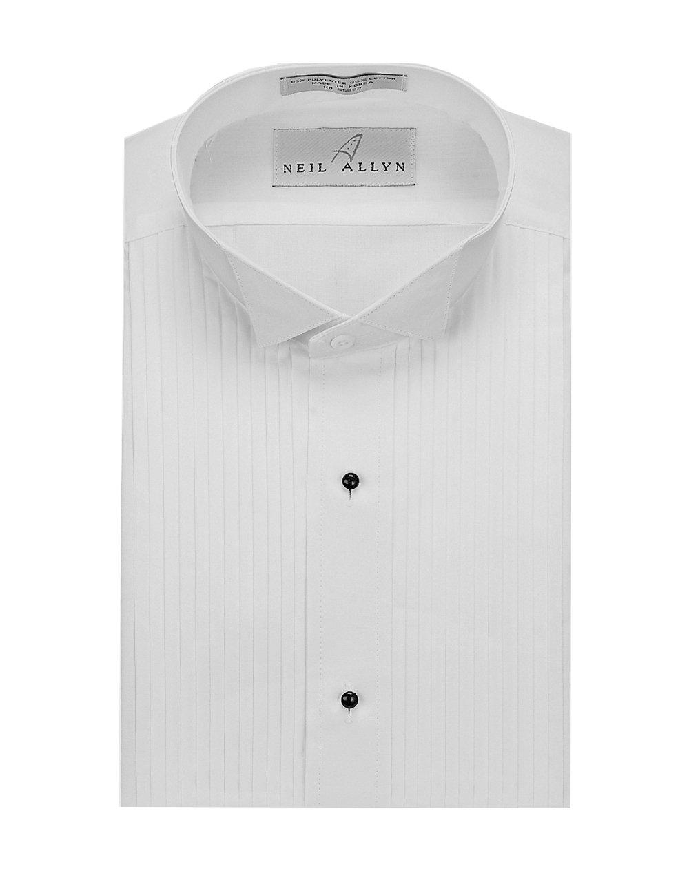 Neil Allyn Men's SLIM FIT Wing Collar 1/4'' Pleats Tuxedo Shirt-M-34-35