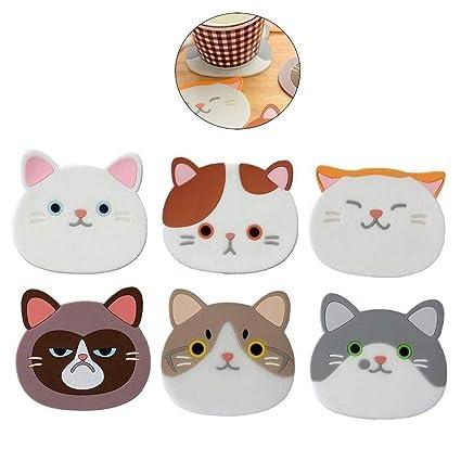 AOLVO Posavasos 6 Paquetes de Posavasos de Gato absorbentes Antideslizantes de Silicona para Copas de Vino