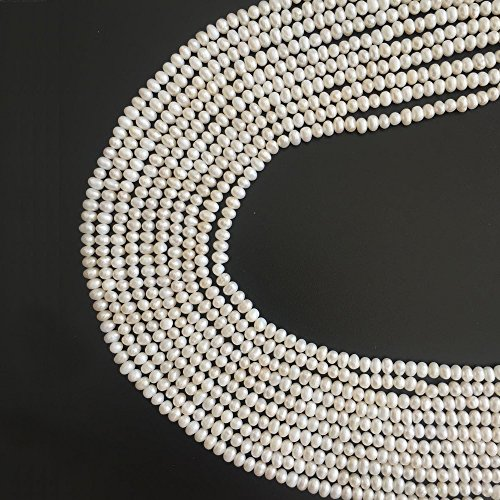- One Full String Real White Pearl Gemstone Egg Round 4-5mm Irregular Beads Bulk Supplies for Women Handmade Jewelry DIY Beading Sold by 15 Inch Strand