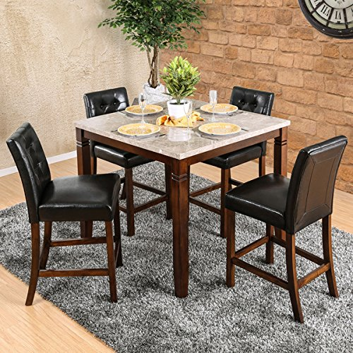 Furniture of America Terese 5-piece Genuine Marble Brown Cherry Counter Height Dining Set, Rubberwood Construction For Durable Framework