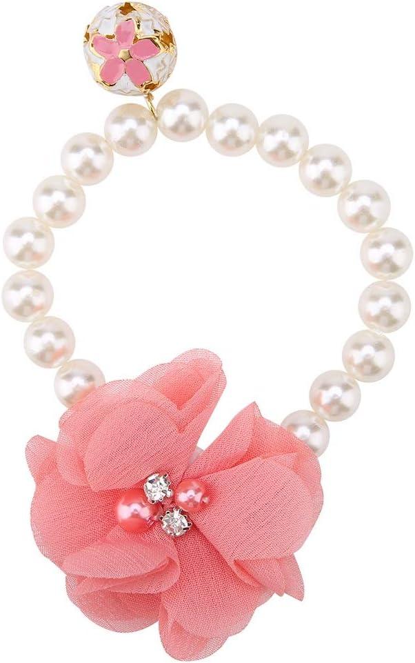 Collar para mascotas - Diseñador Fancy Pearls Crystal Pet Cat Dog Jewelry Collar con collar de flores para mascotas Gatos Perros pequeños Perrito hembra Chihuahua Yorkies Trajes de disfraces de niña,