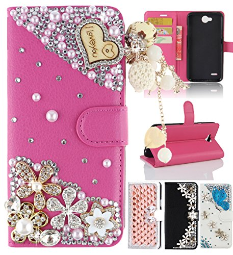 LG X Power 2 Case, LG LV7/LG Fiesta LTE Case, Best Share Luxury Bling Diamond Back Card Pocket Flip Stand Leather Wallet Case Full Cover For LG K10 Power/X Power ()