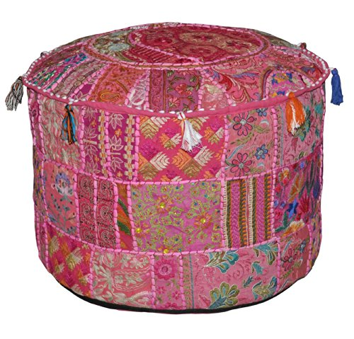 (Rajasthali Indian Vintage Ottoman Embellished with Embroidery & Patchwork Foot Stool Floor Cushion Cover, 23 X 13 Inches)