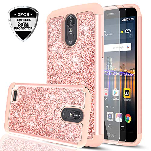LG Stylo 3 Case, LG Stylo 3 Plus/Stylus 3 Case with Tempered Glass Screen Protector [2 Pack], LeYi Hybrid Heavy Duty Protection Glitter Girls Women Shockproof Phone Case for LG - 3 Case Style