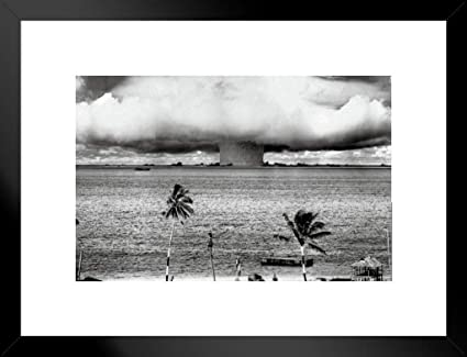 Pyramid America Atomic Bomb Mushroom Cloud Nuclear Weapon Explosion History  B&W Photograph Photo Matted Framed Poster 20x26 inch