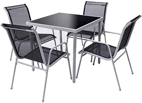 3PC//5PC BISTRO SETS BLACK METAL CHAIRS ALUMINIUM CHROME TABLE ROUND SQUARE STACK