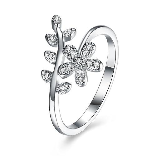 Plata de Ley 925 BALANSOHO mujeres flor hojas circonita compromiso promesa anillos de boda tamaño 8: Amazon.es: Joyería