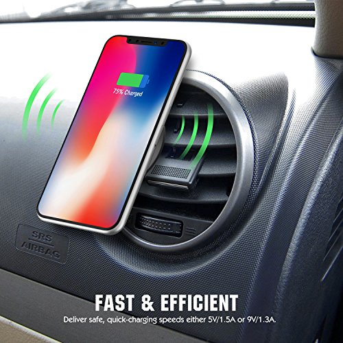 MoKo Magnetic Fast Qi Wireless Car Charger, 360 Degree Rotation Air Vent Holder and Dash Board Mount for iPhone X/8/8 Plus, Samsung Galaxy S9/S9+/Note 8/S8/S8 Plus and Qi-Enabled Devices, Black by MoKo (Image #5)