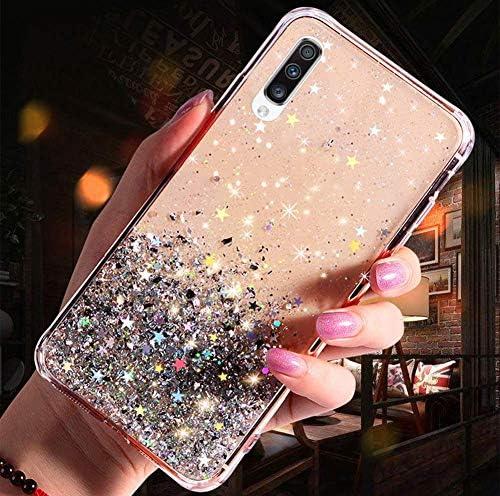 Herbests Kompatibel mit Samsung Galaxy A50 Handyhülle Glänzend Bunt Strass Sterne Glitzer Weich Silikon Hülle Ultra Dünn Crystal Clear Handytasche Durchsichtige Schutzhülle Case,Klar