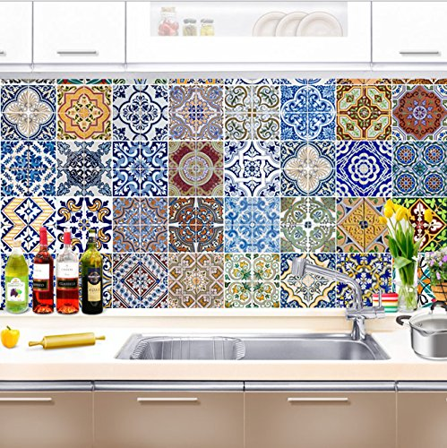 FLFK 48 Units Mexican Talavera Peel & Stick Vinyl Adhesive Tile Stickers for Kitchen and Bathroom Backsplash Decal 7.87x7.87 Inch (20x20cm) by FLFK (Image #5)