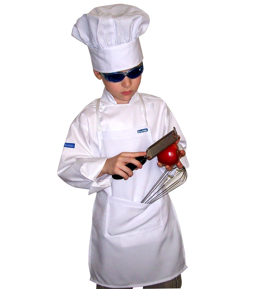 CHEFSKIN Kids Children Set Apron+ Hat M Fits 7-12 White Real Fabric (1)