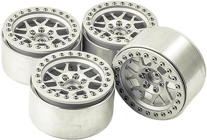 Silver MOHERO 2.2 Aluminum Beadlock Wheel Rims for 1//10 Crawler Wraith 90018 RC Model Car Pack of 4