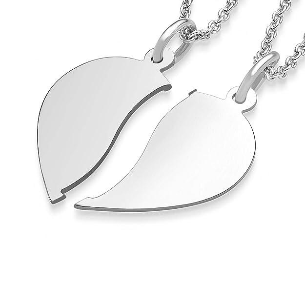 2 Puzzle Anhänger mit Herz und Namen Datum Gravur inkl 2 Ketten Echt Silber 925