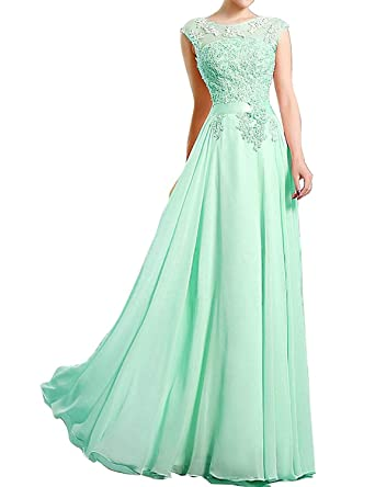 6838727a881 vimans A Line Long Chiffon Prom Dresses Beaded Bridesmaid Dress for Wedding Size  2 Mint