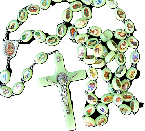 Huge Luminous Glow in the Dark Rosary Beads Necklace Wall Hanging ()