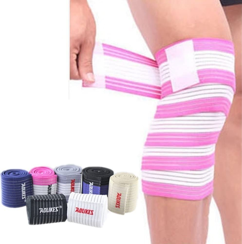 Rungear Elastic Knee Compression Bandage Wraps – Support for Legs, Thighs, Hamstrings Joints Reduce Swelling, Lymphatic Relief Help Recover from Knee Replacement Surgery, 1 Pair