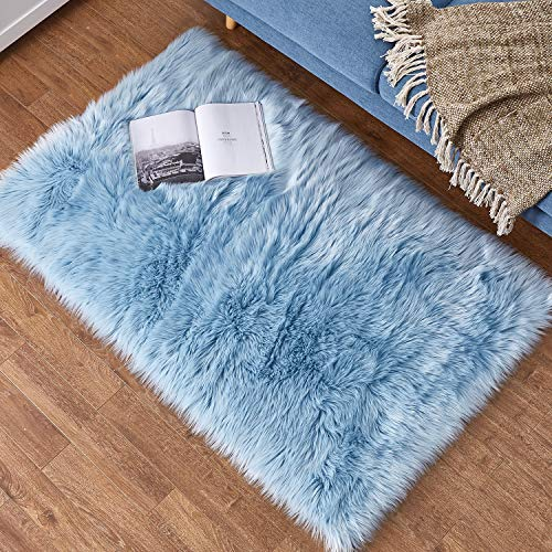 Ashler Soft Faux Rectangle Fur Chair Couch Cover Light Blue Area Rug for Bedroom Floor Sofa Living Room Rectangle 3 x 5 Feet