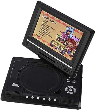 Ccylez Reproductor de DVD portátil de 7.8 Pulgadas, Pantalla LCD HD de rotación de 270 °, TV Digital portátil de Mano, TV para Auto AVI/EVD/DVD Recargable para vuelos y Viajes por Carretera(EU):