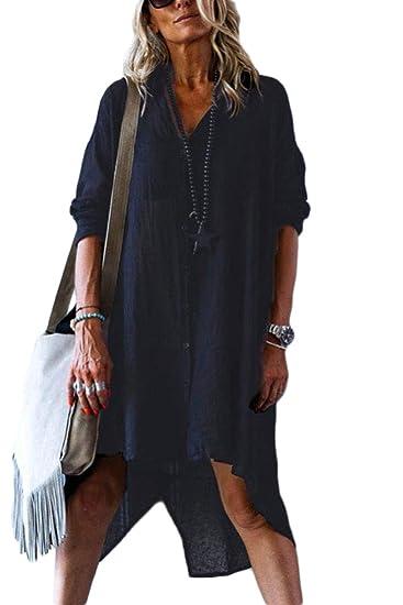 Yacun Camisa De Mujer Vestido Botón Abajo Túnica Blusa Suelta Mini ...