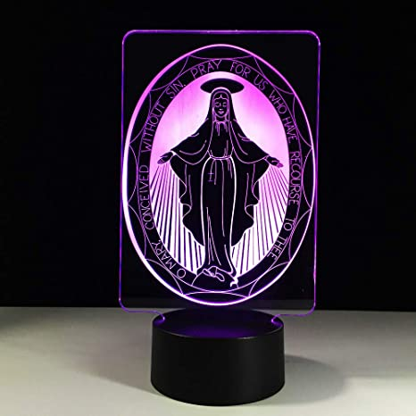 Mesa Virgen Lámpara Color LED La de USB María 3D luz DHYI9WE2