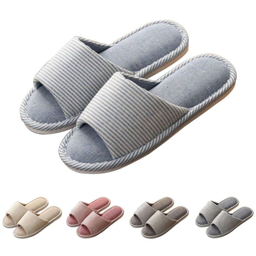 GaraTia House Slippers Open Toe Striped Memory Foam Cotton Washable for Men and Women Sapphire Blue 4-5 B(M) US