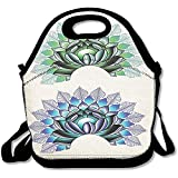 Staroind Digital Lotus Dot Work Motifs Yoga Meditation Calm Life East Lunch Bag Tote For School Work Outdoor