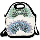 Staroind Digital Lotus Dot Work Motifs Yoga Meditation Calm Life East Lunch Bag Tote For School Work Outdoor